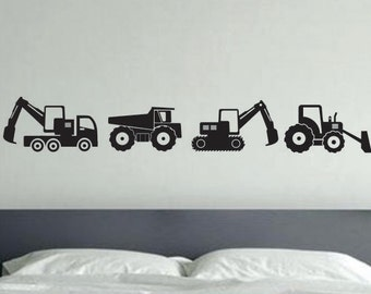 Kids Room Decor, Construction Vehicle Wall Decals, Construction Room