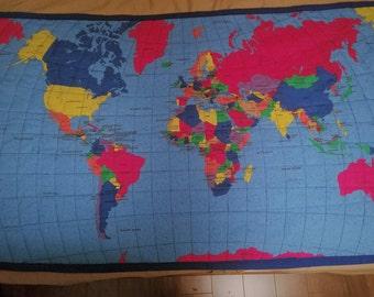 World map quilt etsy worldusa lap quiltplaymat 35 x 56 handmade educational gumiabroncs Gallery