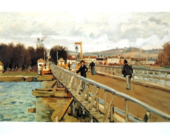 Footbridge at Argenteuil - Alfred Sisley - Fine Art Print - Reproduction Print form 1979 Vintage Book - 12 x 9