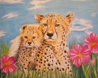 Cheetah and Cub Portrait Print