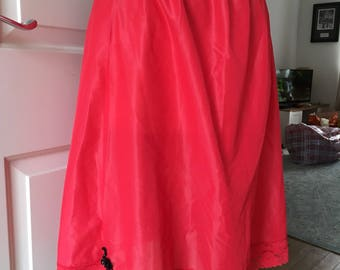 Vintage red petticoat with black sequin swan size small