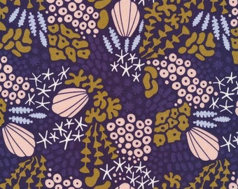 Reef in Midnight Blue - Underwater - Elizabeth Olwen - Organic Cotton - Cloud 9 Fabrics - 1 Yard