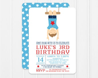 Boy Gymnastics Invitation - gymnastics birthday party - gymnastics invitation - gym party