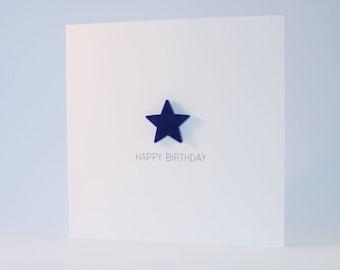 Happy Birthday Card with Navy Blue detachable magnet keepsake