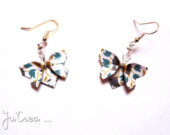 Origami butterflies flowers earrings