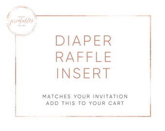 Matching Diaper Raffle Insert, Baby Shower Invitations, Printable Baby Shower Invite, Baby Shower, Gender Reveal Party, Diaper Raffle, Baby