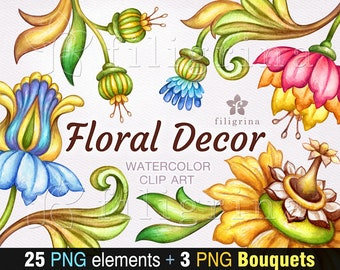 FLORAL watercolor Clip Art. Boho flowers, tropical nature, botanical illustration, tulip, lily, rose vintage elements. Read how to use
