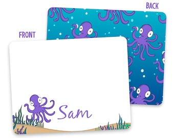 Custom Kids Octopus Note Cards - Octopus Stationery - Pen Pal Cards - Flat Note Cards - Personalized Stationery for Kids - Back to School