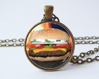 Hamburger necklace Burger necklace Hamburger pendant Food jewelry Gift idea Burger pendant Food necklace Food lover gift Cheeseburger
