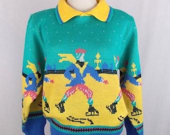 1980's Ice Skaters Novelty Sweater ShipN' Shore Medium