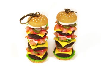 Big Burger earrings, Valentine's Day, Hamburger earrings, Polymer clay earrings, Burger jewelry, miniature food jewelry, Food earrings