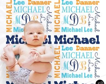 Baby boy personalized swaddle blanket, receiving blanket, boy monogram blanket , baby shower gift, boy gift, navy, orange, baby blanket 1001