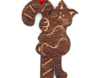 Wooden Kitty Cane Ornament