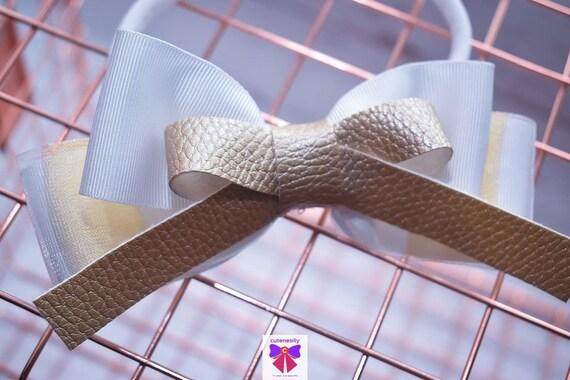 Gold and white stripe grosgrain  sheer leather Bow- Baby / Toddler / Girls / Kids Headband / Hairband / Hair bow / Barette / Hairclip