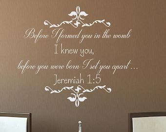 Wall Decals Jeremiah 1:5 Before I Formed You In The Womb Quote Vinyl Sticker Bedroom Decal Home Decor aa356