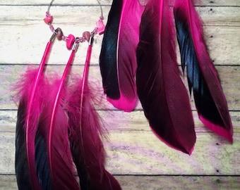 Hot pink n black feather earrings