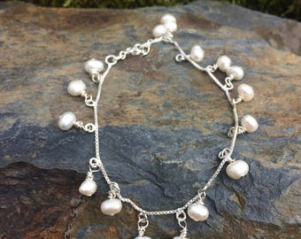 White Cultured Pearl Sterling Silver  Bracelet