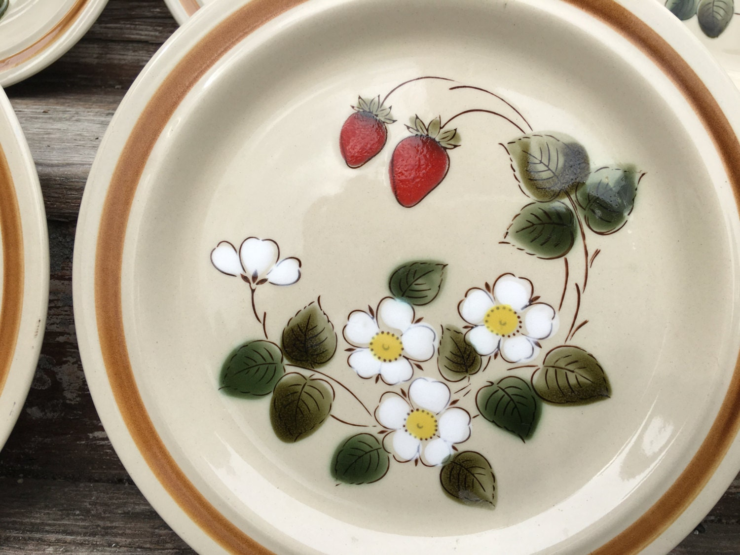 gallery photo gallery photo gallery photo gallery photo & Set of 6 Midland Stoneware Strawberry Plates Dinner Plates Made in ...