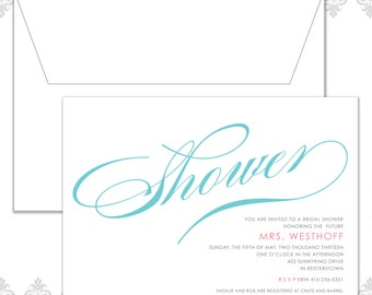 Calligraphy Wedding Shower invite