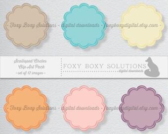 Printable Pastel Label Clip Art Digital Download - Instant Download Circular Tags - Set of 12 Scrapbook Elements