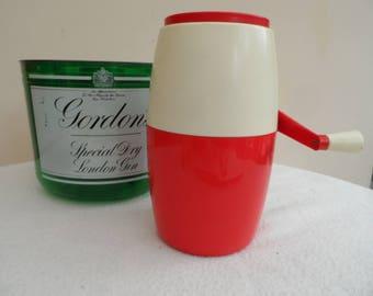 Retro Circa 1960/70 hand cranked Ice Crusher. Red and Cream