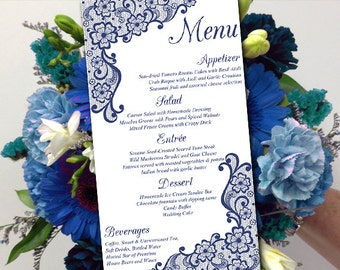 "DIY Wedding Menu Template Instant Download - Printable Menu ""Bella Lace"" Navy - Printable Wedding Menu Card Template - Entree Card"