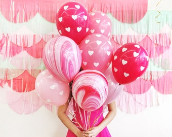 Pink Marble Hearts Balloon Bundle - Pack of 10 - Pink Hearts Marble 11in Latex