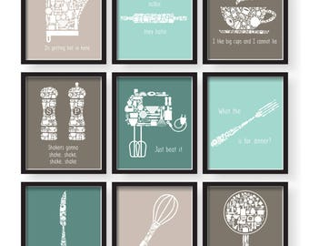 Set Of 9   Modern Color Brow Teal Kitchen Funny Quotes Art Set, Brown Teal