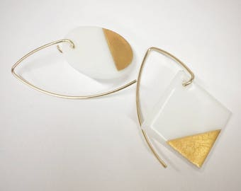 Mis-matched / 22K Gold and Glass / Earrings - on 14k gold-fill hangers