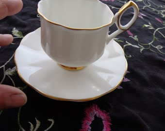Vintage Numbered Taylor and Kent England  Teacup and Saucer Set  Elizabethan Style - Fluted and gold trim white,n Bone Chinal