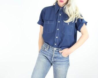 Vintage Pointed Collar Shirt / 70's Blue Short Sleeve Button Up / ARROW Top Medium