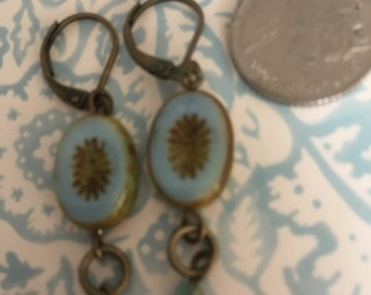 Vintage Style Pale Blue Czech Picasso beads Earrings