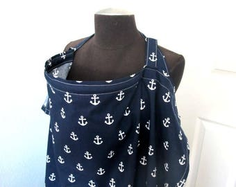 Nursing Cover - Navy Blue Anchor