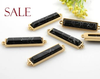 CLEARANCE! Black Marble Gemstone Connector / Pendant with Black Marble stone in Gold Plating