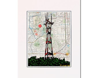 Sutro Tower - Twin Peaks Neighborhood - San Francisco - archival pigment print, matted, ready-to-frame. Gallery quality.