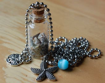 Beach in a Bottle Charm Necklace, Starfish and Sand Dollar