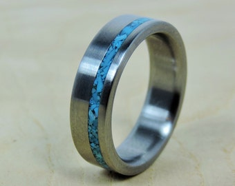 Wedding Band for Men, Mens Titanium Ring, Turquoise Ring, Mens Wedding Ring, Anniversary Gift, Handmade Ring, Custom Engraving, Unique Ring