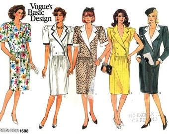 Vogue 1698 Bravura Fitted Straight Dress 1986 / SZ8-12 UNCUT