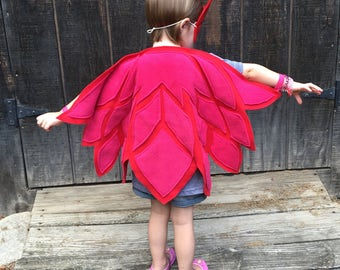 Owlette Wings, Owlette Costume, Owlet Bedtime Hero Toddler, Kids & Adults, Red Owl Wings, Owl Cape, Red Pink Owl Wings, Pretend Owl Wings