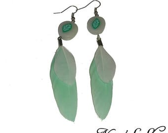 Nature green feather earrings