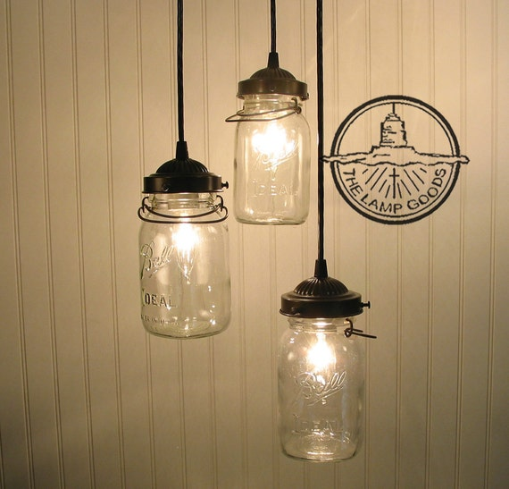 Mason Jar Light Fixture Vintage Canning Jar CHANDELIER Trio