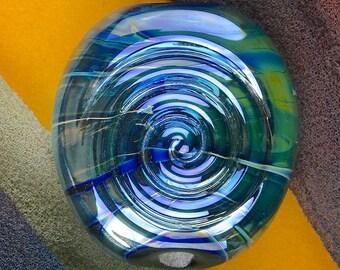 """Handmade Lampwork Bead """"Spiral Spirit Water"""" SRA Silver Glass Textural Focal Bead ~ OOAK Unique ~ True Blue"""