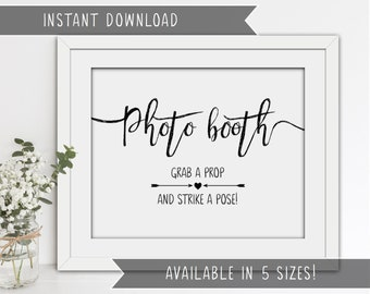 INSTANT DOWNLOAD - Printable Wedding Photo Booth Sign