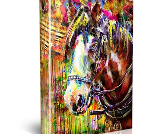 Horse Art, Equestrian Decor, Horse Canvas, Animal Painting