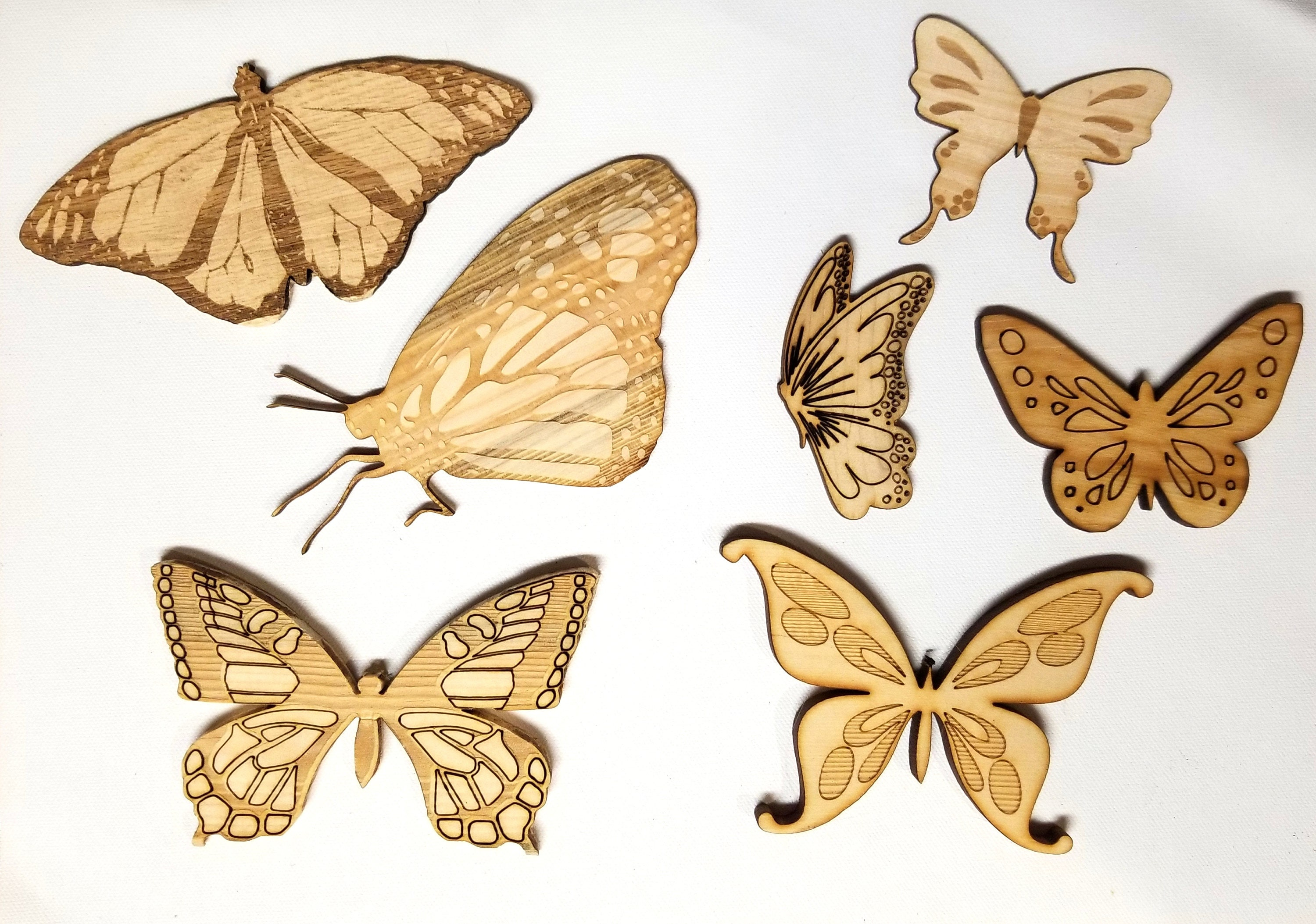 Assorted Wood butterflies 3D laser cut set of 10 | engraved wooden ...