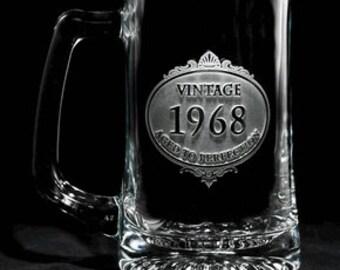 Birthday Vintage Year Engraved Beer Mug