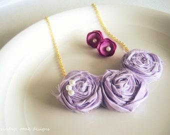 Lavender Rosette Statement Necklace, Bib Necklace,Lilac Rosette Necklace,Rosette Statement Necklace,Bridesmaid Necklaces,Choose COLOR,Bridal