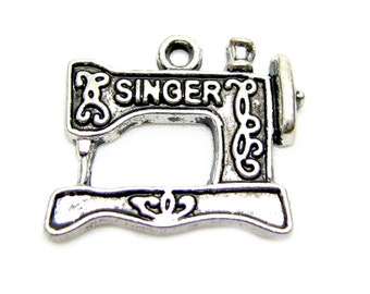 Antique Silver SINGER Sewing Machine Charms | Quilting Charm  [10 pieces] -- Lead & Nickel Free Jewelry Findings A14