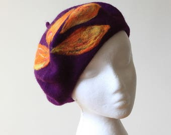 French Beret 100% Wool in dark purple colour Parisian Classic Style One Size