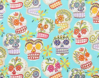 Alexander Henry Mini Calaveras on Turqoise 100% Cotton Fabric by yard